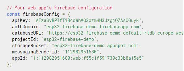 ESP32 Firebase Demo Get Started configuration