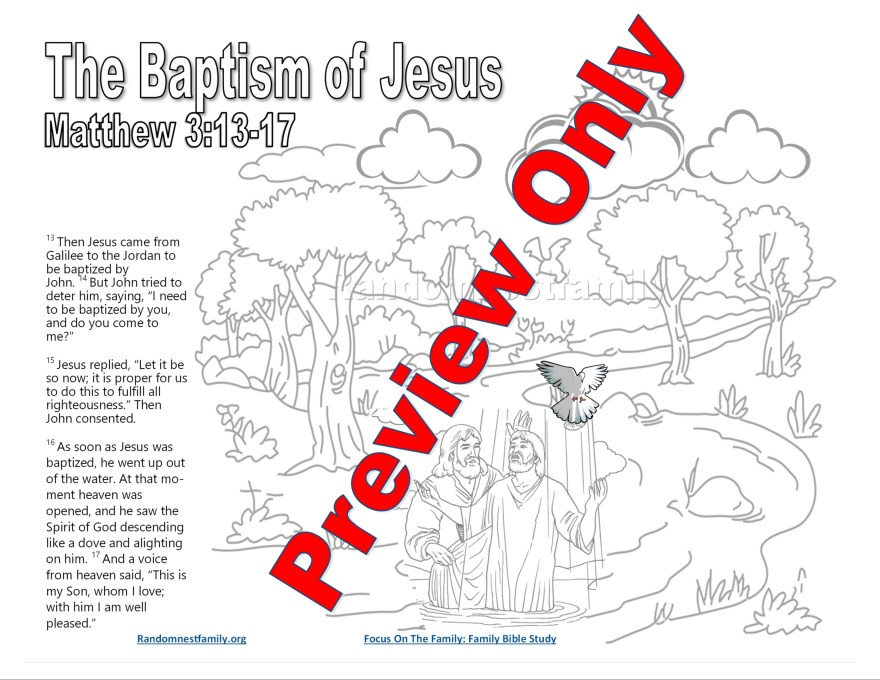 Child scripture page for Matthew 3-4 Randomnestfamily