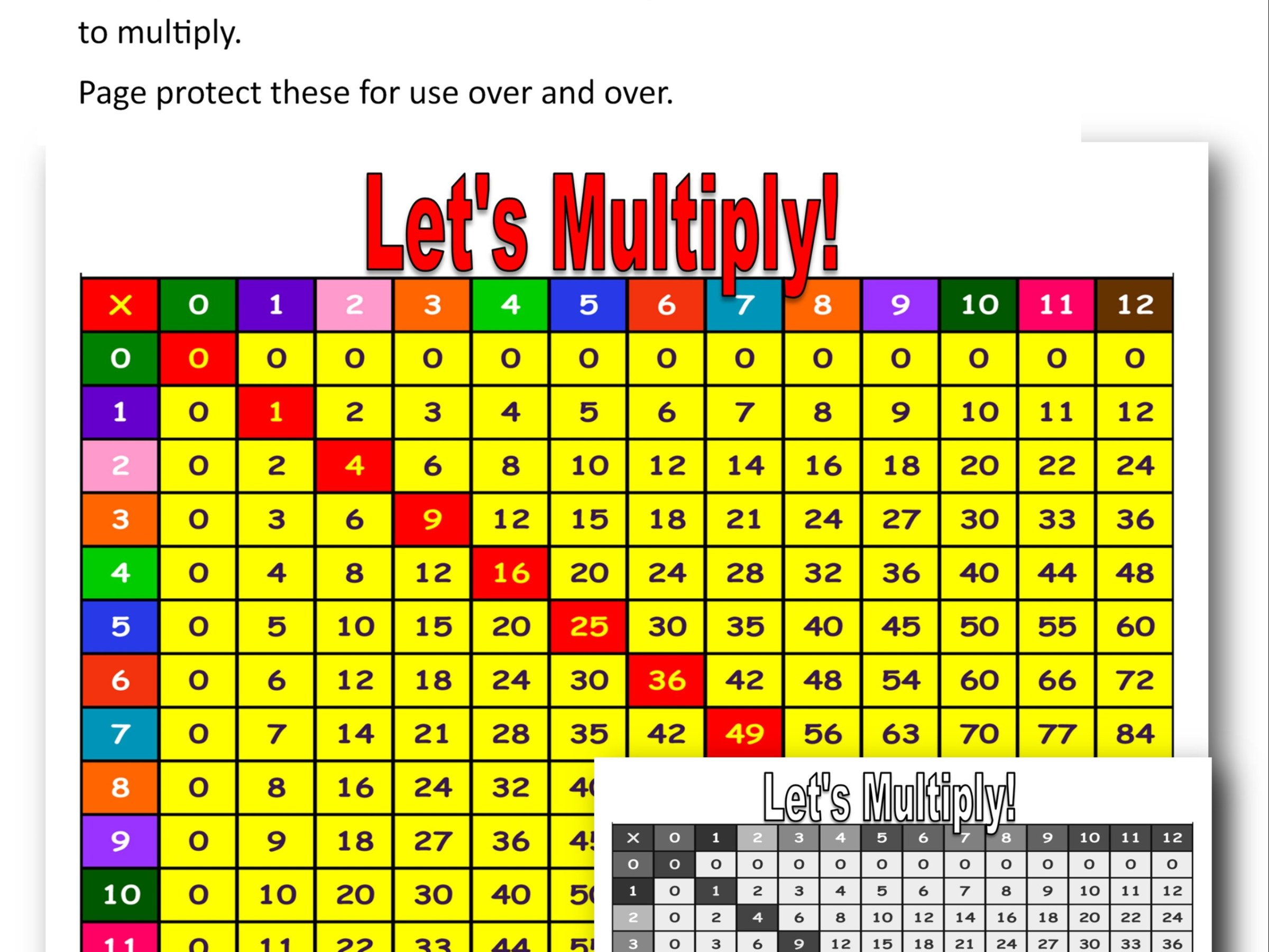 Multiplication chart preview @randomnestfamily.org