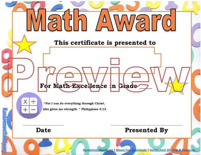 Math award @randomnestfamily.org