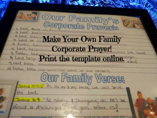 Randomnestfamily.org Family Corporate Prayer example