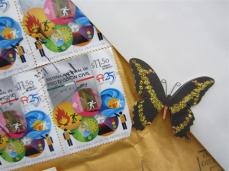 More stamps with beautiful butterfly paper tole that was on the back of the envelope