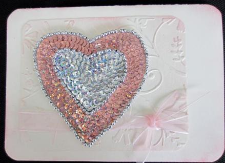 The most beautiful sequined heart card by Donna