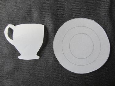 Pattern - Cut three circles of different sizes for saucer. You can us patterned paper, paint or draw your own and or use different colours for each circles as I have done.