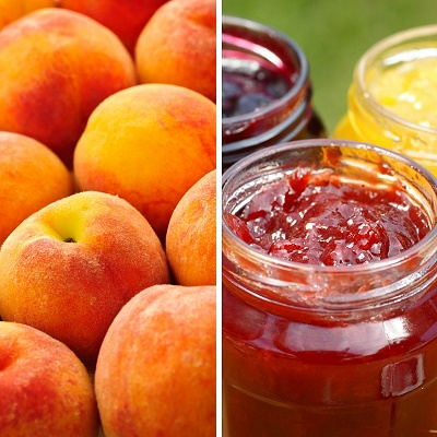 Peach-Heat-randomstoryteller-image-of-fresh-peaches-and-jar-of-peach-jam