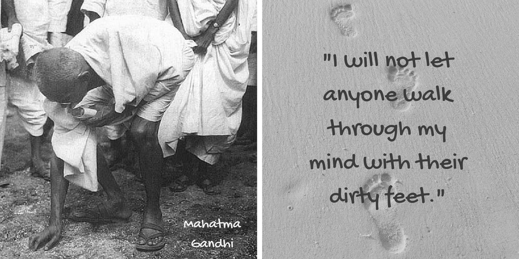 Quote by Mahatma Gandhi via chamrick randomstoryteller with image of Gandhi stooping at the end of Salt March