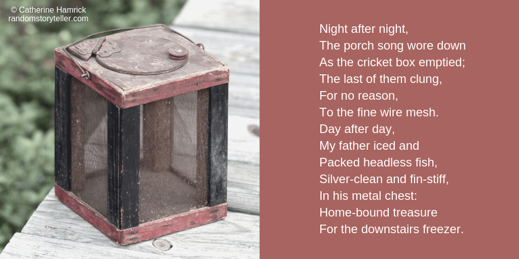 Poem excerpt from The Shadow of My Father's Beard by chamrickwriter randomstoryteller.com with an image of an old cricket box 1024x512
