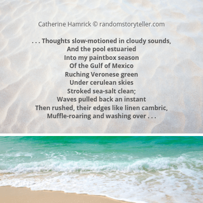 Immersion poem excerpt by chamrickwriter randomstoryteller.com with image of Gulf of Mexico beach
