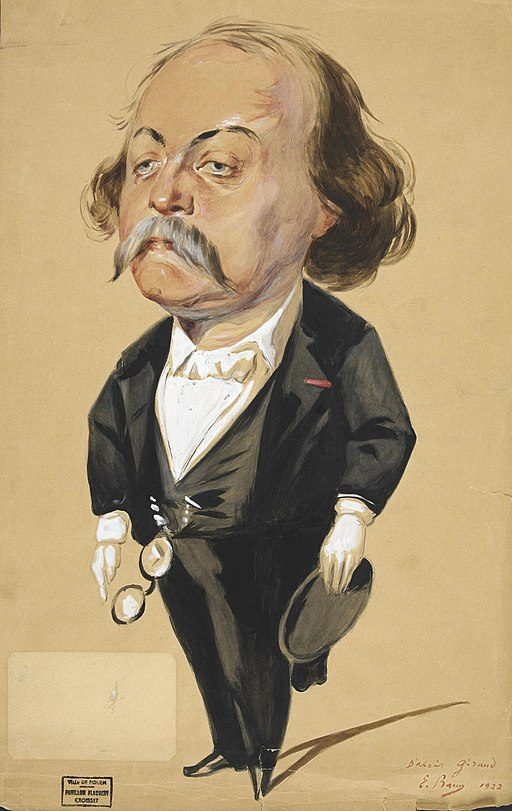 Illustration of Gustave Flaubert adapted from Eugene Giraud painting