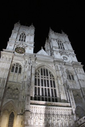 Westminster Abbey at night.