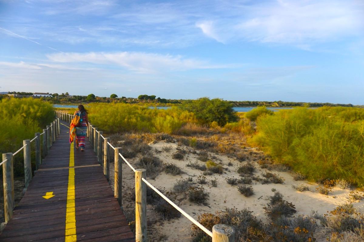 Pasarela de madera de la playa de Canas hasta el barco que cruza la ría formosa