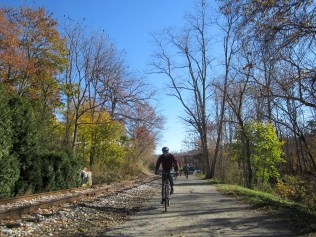 Andy on rail trail in Glen rock
