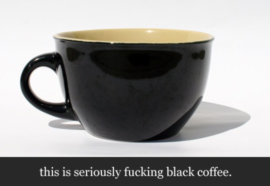 A black cup of coffee
