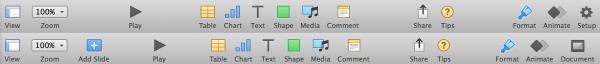 keynote toolbars