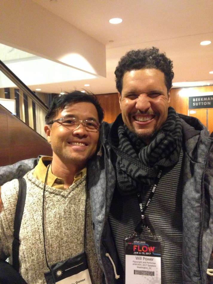 """Right, Will Power, """"Flow"""" playwright, goes with the flow at #APAPNYC 2017 preconference (Association of Performing Arts Presenters) 