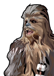 Chewbacca Foil-For Topps Star Wars Galaxy 5 My Star wars Art was featured in a 15 card FOIL subset. These were considered chase cards. Each card was printed on Bronze, Silver, Gold and Prismatic Foil.