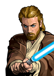 Obi Wan Kenobi Foil-For Topps Star Wars Galaxy 5 My Star wars Art was featured in a 15 card FOIL subset. These were considered chase cards. Each card was printed on Bronze, Silver, Gold and Prismatic Foil.