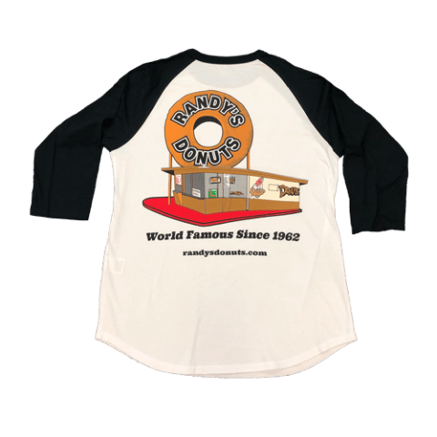 Randy's Donuts Black Baseball Tee with Randy's original location design on back