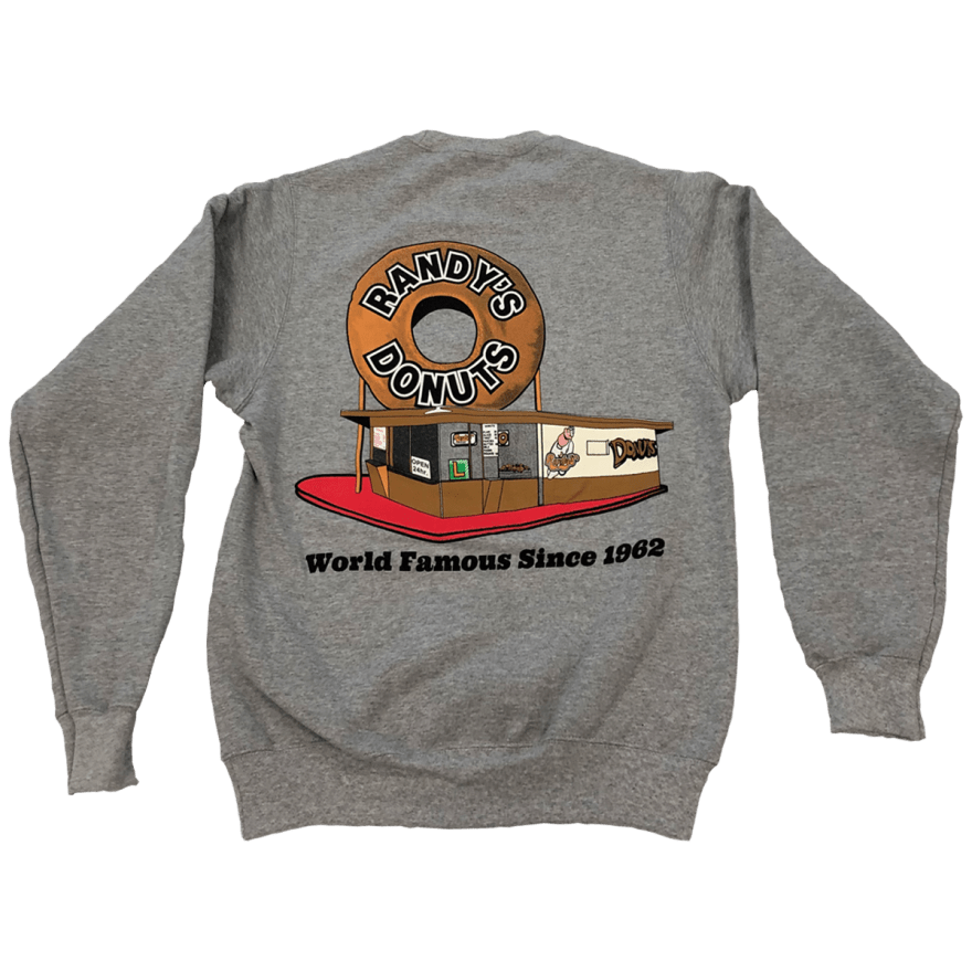Randy's Donuts Gray Crew Pullover Sweatshirt