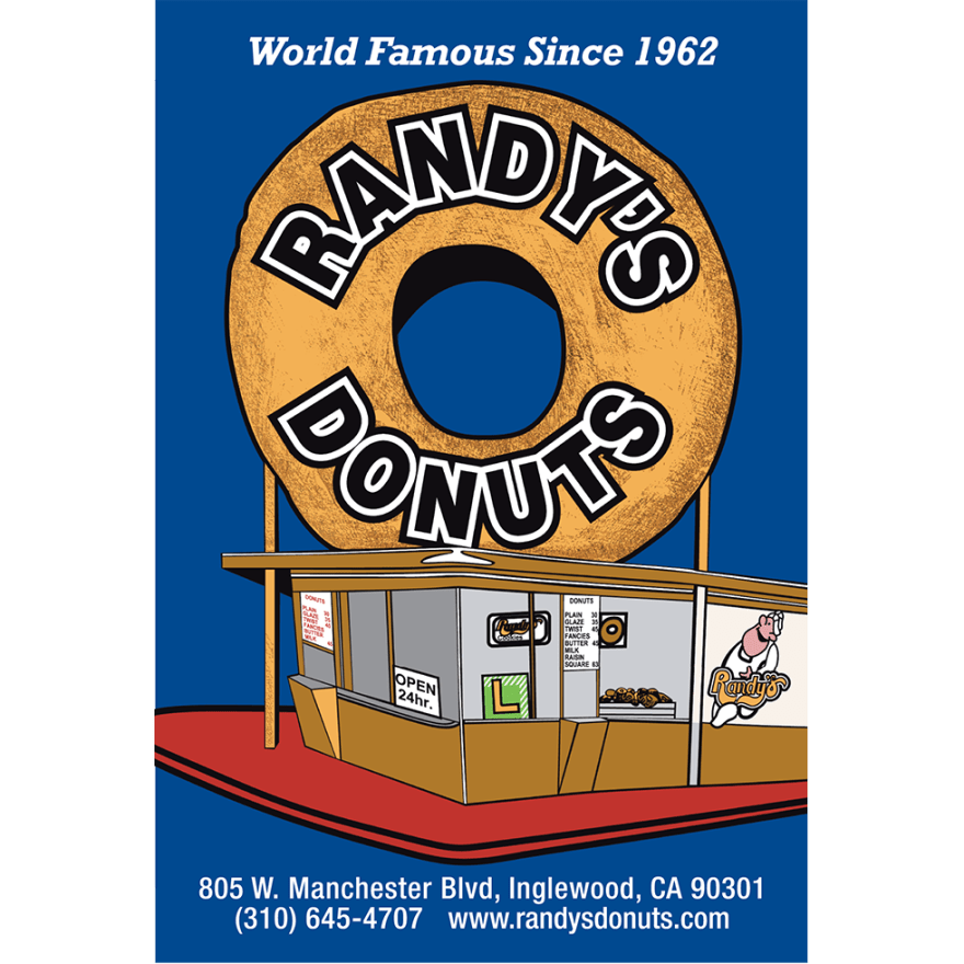 Randy's Donuts Blue Post Card