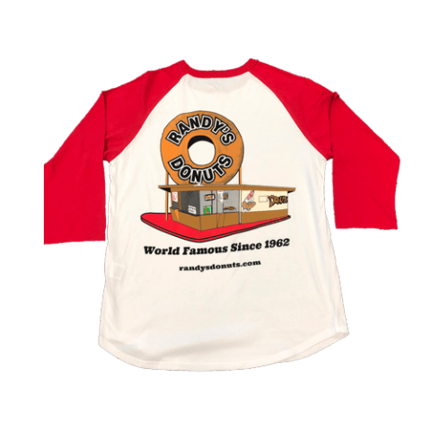 Randy's Donuts Red Baseball Tee with Randy's original location design on back