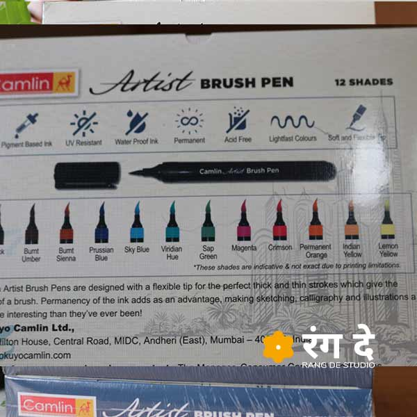 Camlin Artist Brush Pens with 12 shades