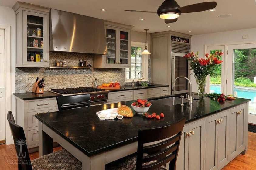 modern look of a range hood in a kitchen
