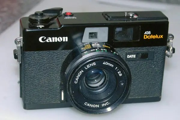 The black Canon A35 Datelux camera.