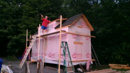 "Scaffolding built for roof work, and my ""contractor extraordinaire"" (aka dad)"