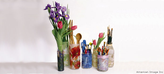 Recycled glass vases