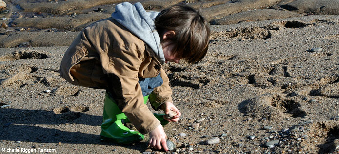 boy picking up rocks