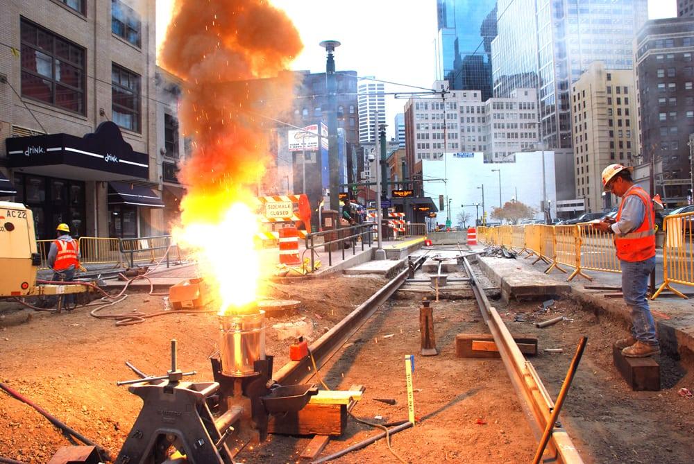 transit tracks under construction