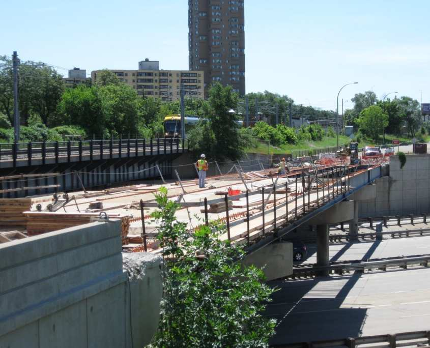 Bridge under construction for METRO Transit Green Line Transportation and Land Survey project