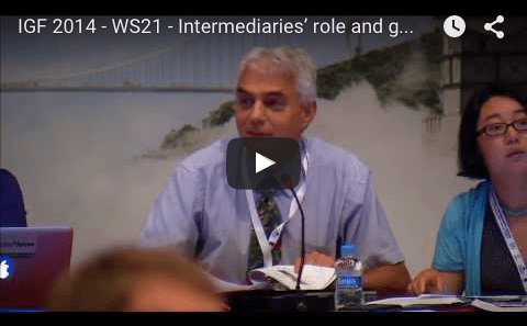 YouTube video of IGF 2014 - WS21 - Intermediaries' role and good practice in protecting FOE