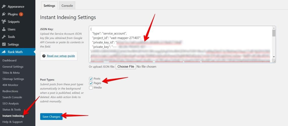 Cara Setting Plugin Instant Indexing Rank Math 2