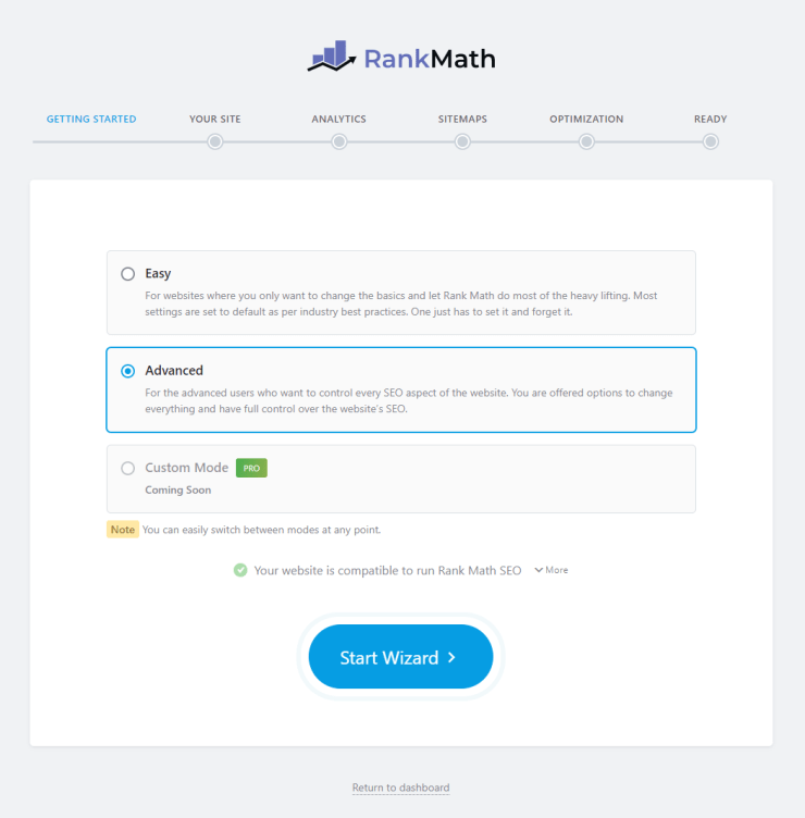 All The Settings On First Page In Rank Math Setup Process