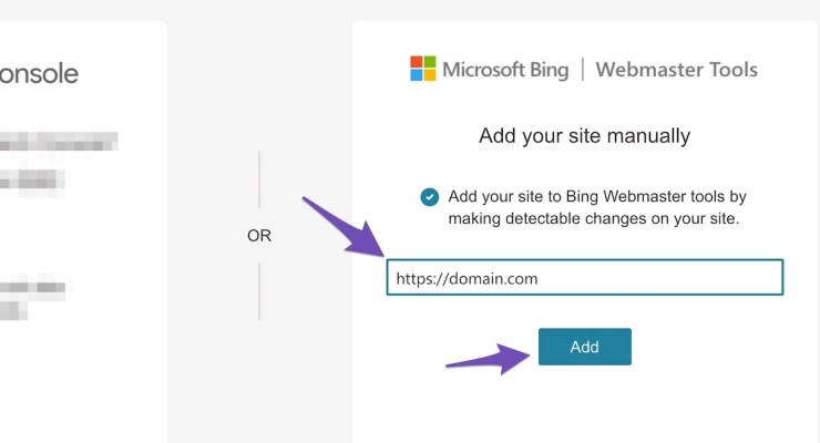 enter your website URL on Bing