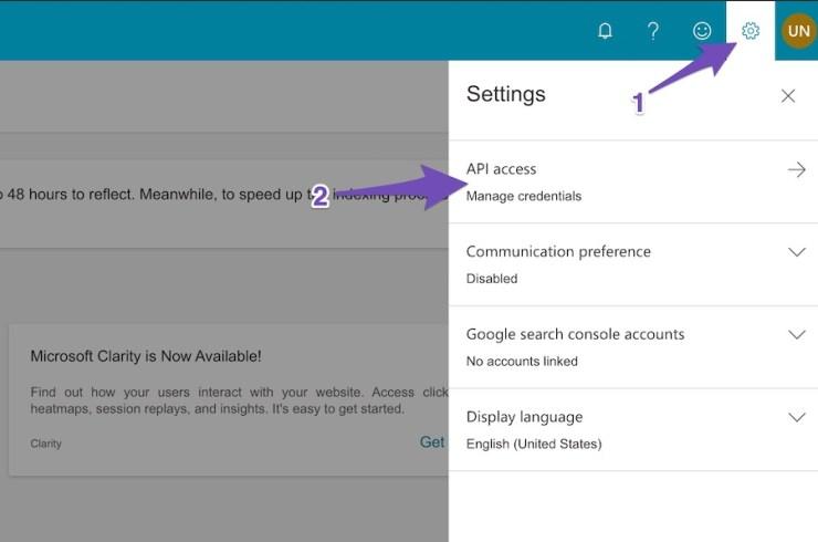Bing Webmasters Settings