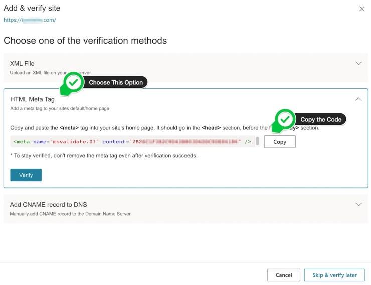 Copy the Bing verification code