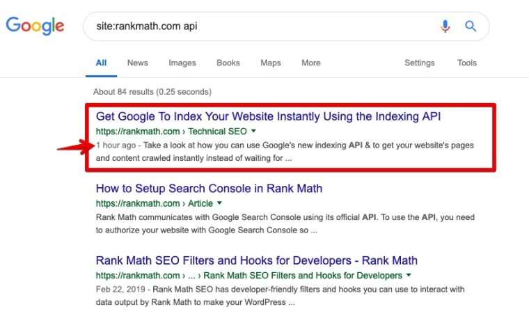 Google Indexing The Article Instantly