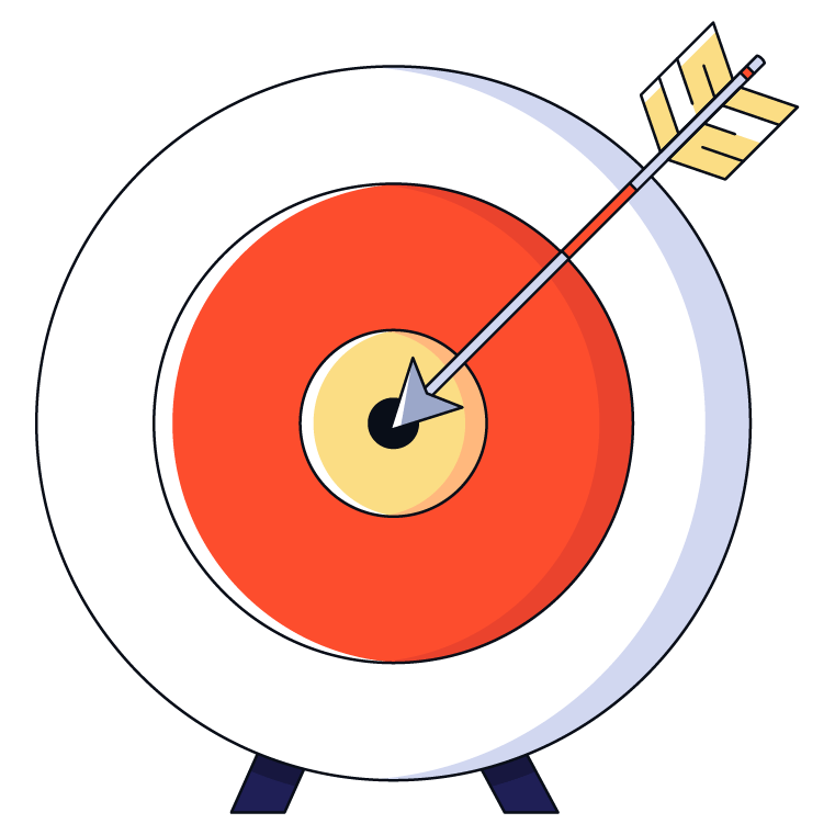 Graphic of arrow hitting the bullseye of its target