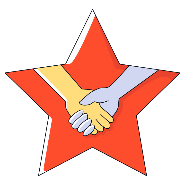 Graphic showing a hand shake