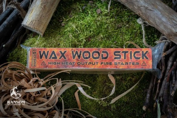 Wax Wood Stick fatwood alternative in package with other natural fire starting material