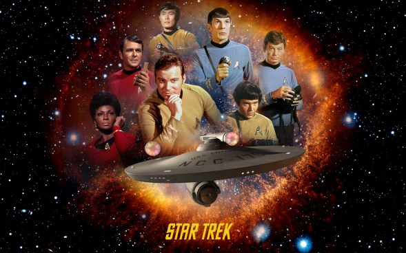 Star Trek The Original Series. Cast montage over a gaseous orange ring effect with the Enterprise emerging in the foreground.