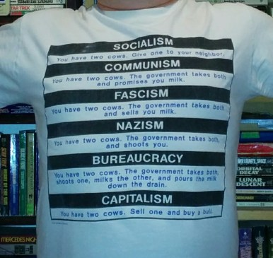 T-shirt political humor. What different governments would do with your cows.