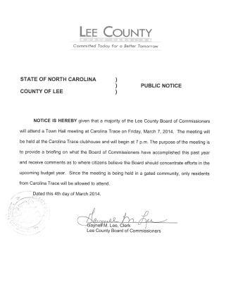 NOTICE - TOWN HALL MEETING - CAROLINA TRACE (2)