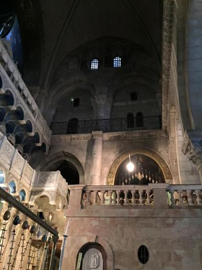 Interior of the Church of the Holy Sepulchre. The rooms above mark the spot where the Cruxifixction took place.
