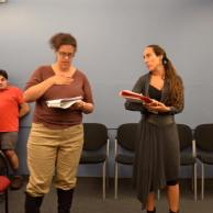 """In rehearsal for Shakespeare's """"Richard III"""" with actor Diana Benigno (photo credit Colette Panetta)"""