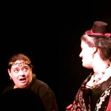 """Actress Randi Sobol (Queen Elizabeth) and Stephanie as the Duchess of York in Nicu's Spoon Theater Co production of Shakespeare's """"Richard III"""" at the Secret Theatre"""