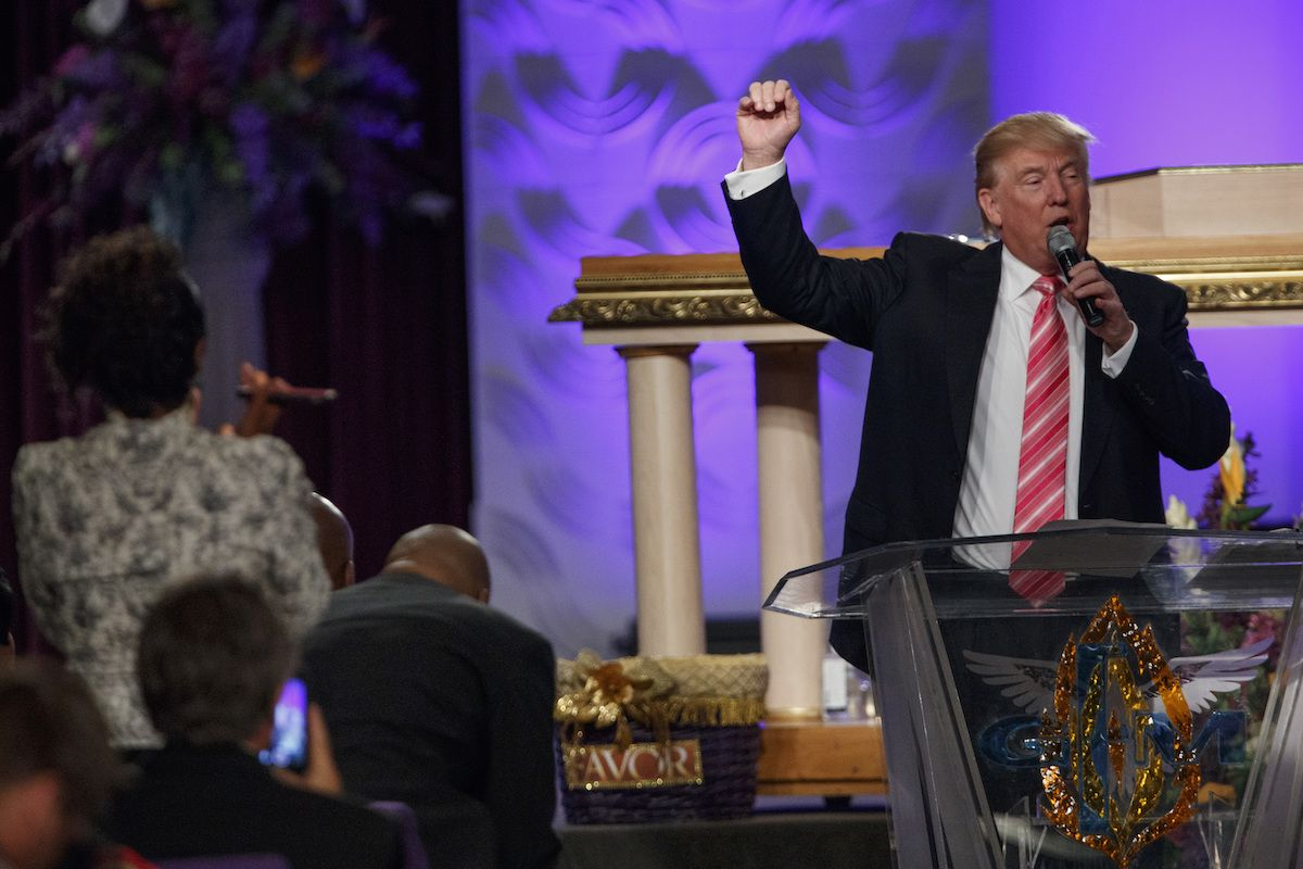 Donald Trump speaks during a church service at Great Faith Ministries, Saturday, Sept. 3, 2016, in Detroit. (AP Photo/Evan Vucci)